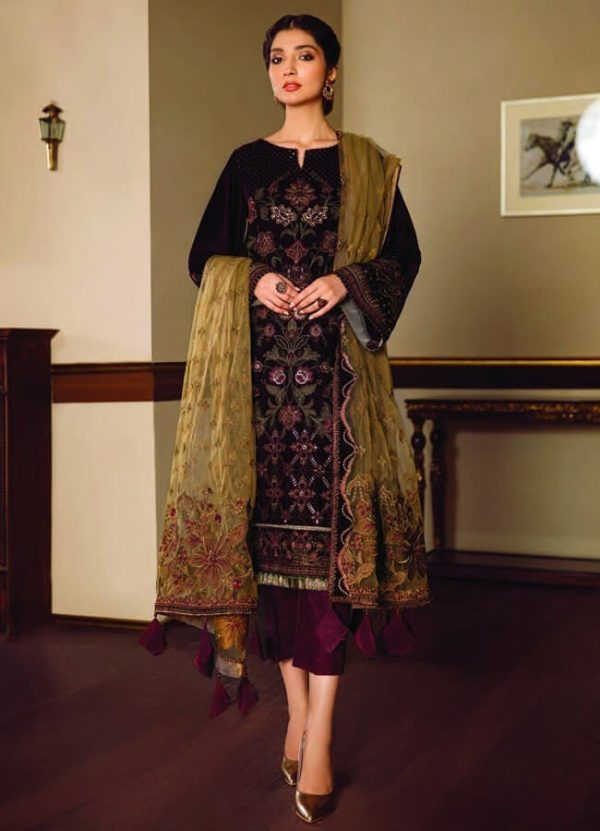 Baroque Embroidered Velvet Unstitched 3 Piece Suit BRQ 01
