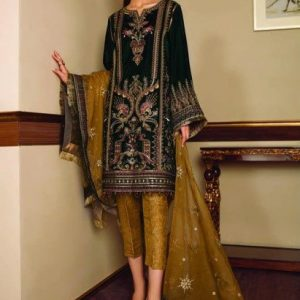 Baroque Embroidered Velvet Unstitched 3 Piece Suit BRQ 05