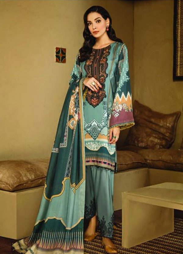 Fuchsia Digital Printed with Embroidered Viscose Linen Unstitched 3 Piece Suit FL 03
