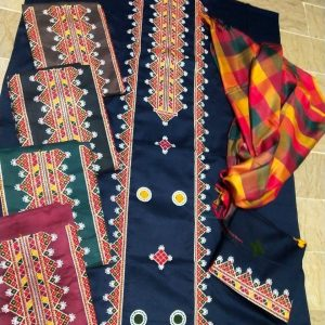 Heavy aari work Check Salwar Check Dupatta with multi colors AS-012