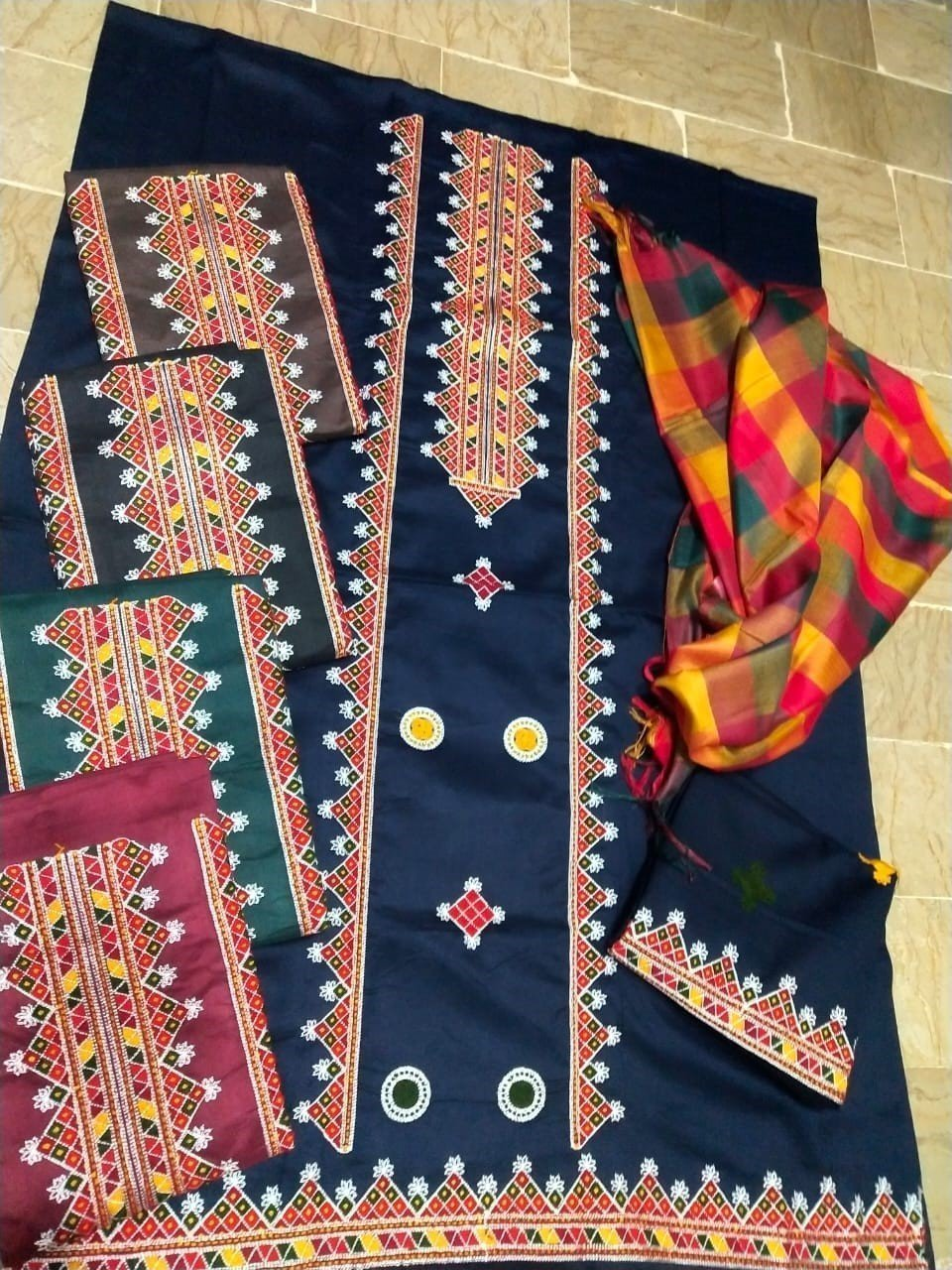Heavy aari work Check Salwar Check Dupatta with multi colors AS-012