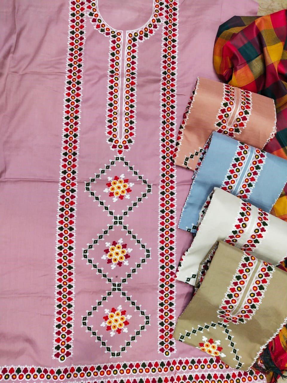 Heavy aari work Check Salwar Check Dupatta with multi colors AS-013