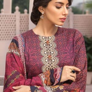 Jazmin Digital Printed with Embroidered Viscose Linen Unstitched 3 Piece Suit JI 02