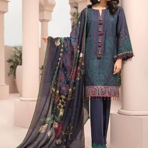 Jazmin Digital Printed with Embroidered Viscose Linen Unstitched 3 Piece Suit JI 03
