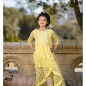 Keshia Exclusive Facy Range 1 Piece Frok for Girls Lemon