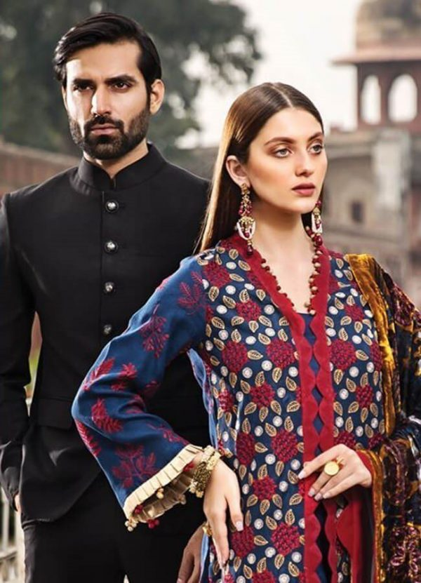 Rang Rasiya Printed with Embroidered Cotelle Linen Unstitched 3 Piece Suit RR 01