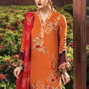 Rang Rasiya Printed with Embroidered Cotelle Linen Unstitched 3 Piece Suit RR 03