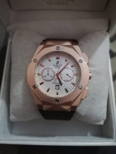 Hublot Male Watch Round Dial Leather Strap AS-674-1