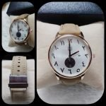 True Worth Male Watch Round Dial with Date and Leather Strap AS-677