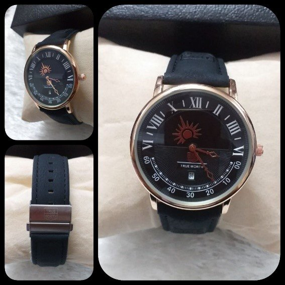 True Worth Male Watch Round Dial with Date and Leather Strap AS-679