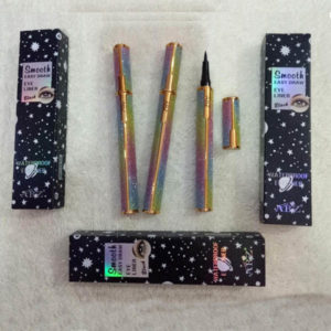 Abz smooth easy draw eye liner black rainbow glitter case