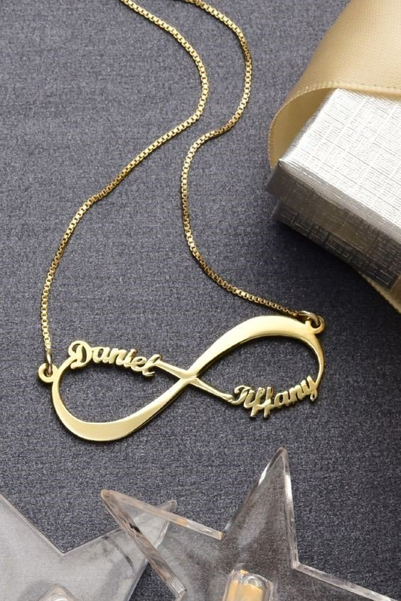 Silver and Gold Plated Infinite Love Style Necklace AS-110