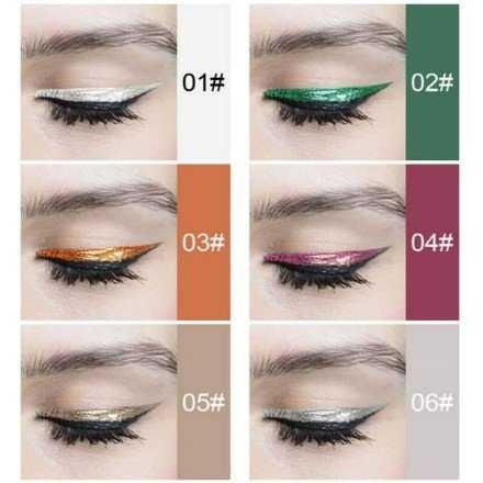 Karite 24 Hour WaterProof Glitter Eyeliner Flushers-6pcs
