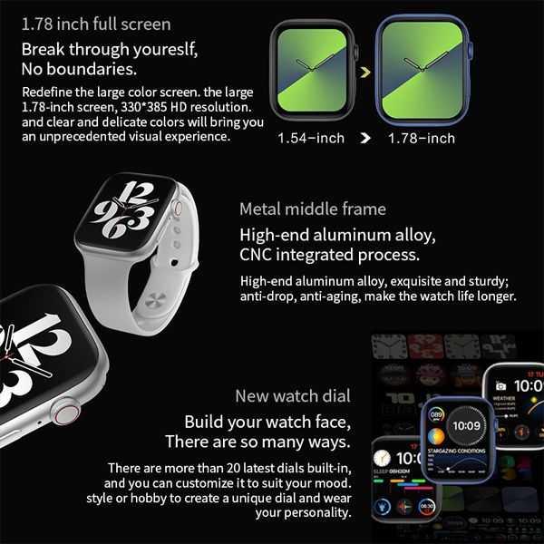 Fk88 pro smartwatch 1.78 inch screen make and answer call music women men wireless charging smart watch