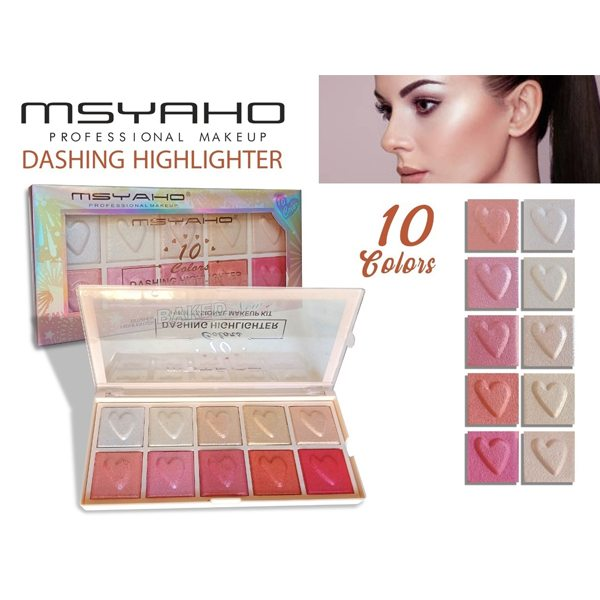 Msyaho professional 10 color dashing highlighter palette