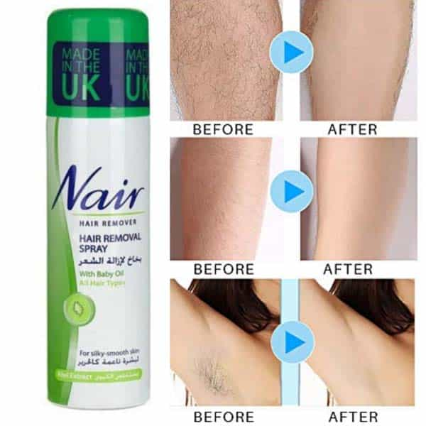 Nair hair removal spray for silky smooth skin kiwi extract