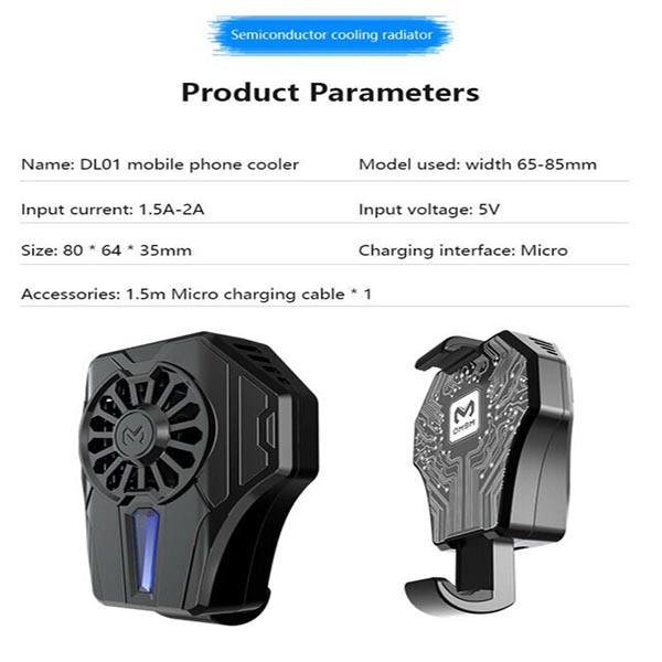 Pubg mobile phone cooler semiconductor stretchable radiator mute cooling fan holder w