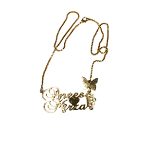 Anees-Mirza name gold plated customized necklace