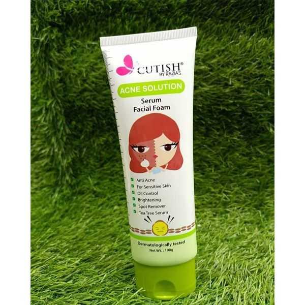 Cutish acne solution serum facial foam 100g pack of 3